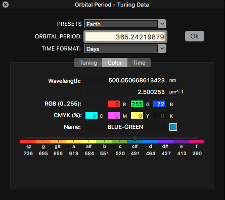 Icosmo Complete - orbital time calculator - color tab