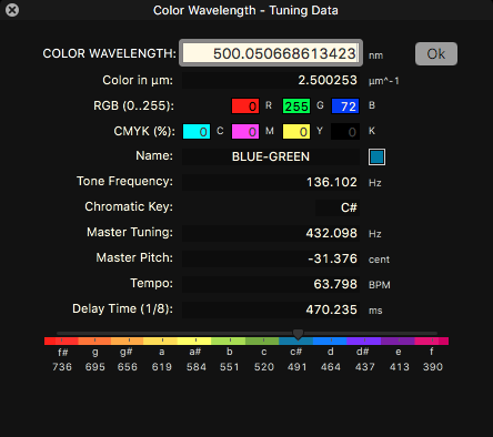 Icosmo Complete - color wavelength to tuning data converter